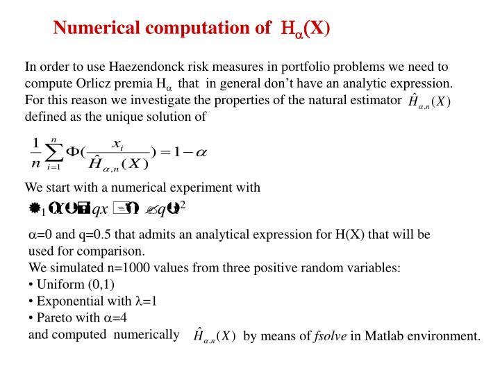Numerical computation of