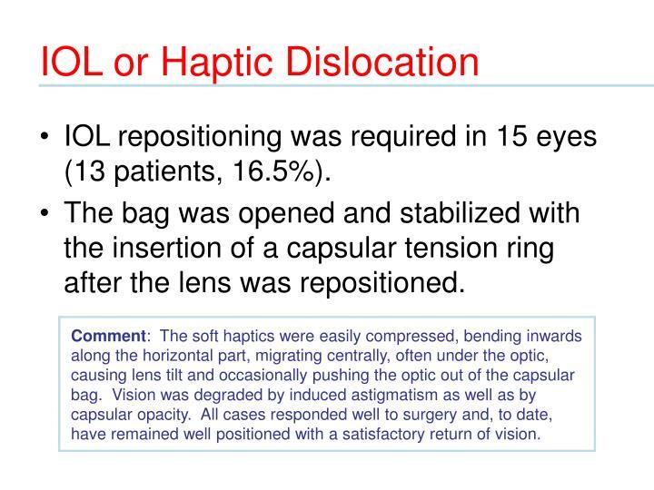 IOL or Haptic Dislocation