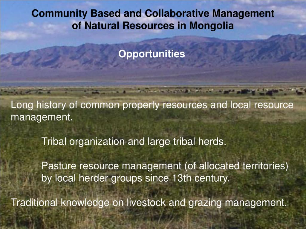 Community Based and Collaborative Management