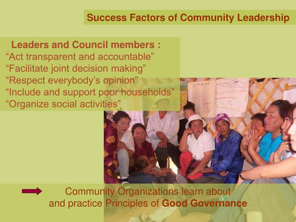 Success Factors of Community Leadership