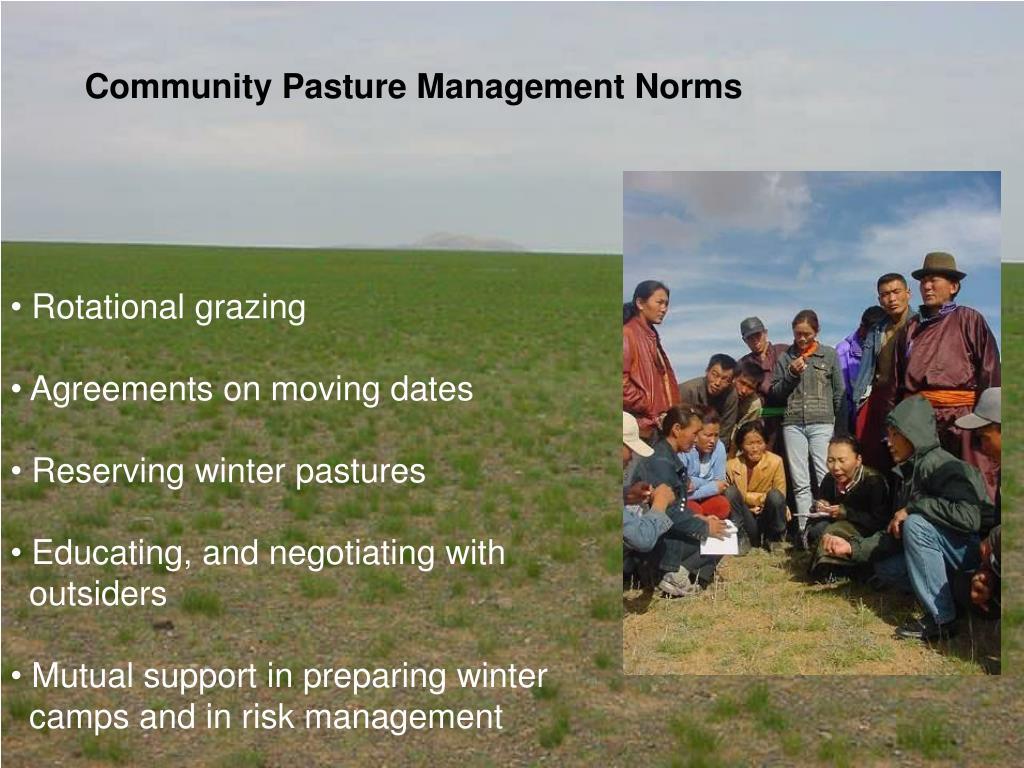 Community Pasture Management Norms