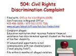 504 civil rights discrimination complaint
