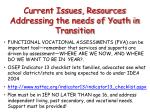 current issues resources addressing the needs of youth in transition
