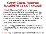 current issues resources placement is not a place