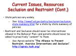 current issues resources seclusion and restraint cont