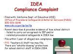 idea compliance complaint