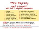 idea eligibility age 3 up to age 22 with 1 of 13 eligibility categories