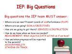 iep big questions