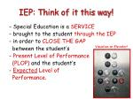iep think of it this way