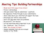 meeting tips building partnerships