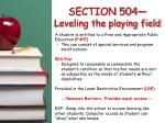 section 504 leveling the playing field