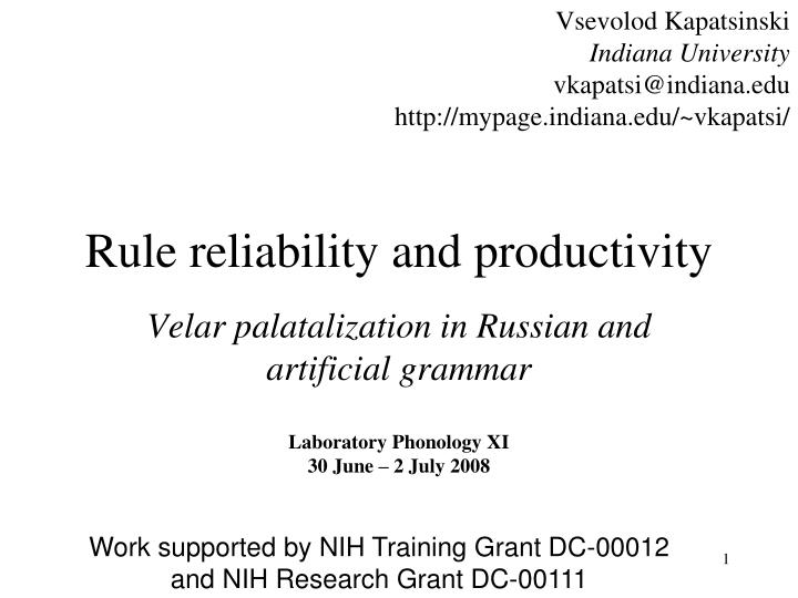 rule reliability and productivity n.