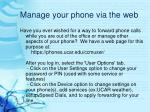 manage your phone via the web