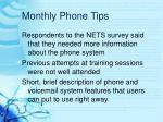 monthly phone tips