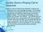 quickly send a ringing call to voicemail