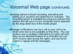 voicemail web page continued