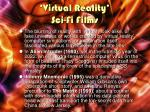 virtual reality sci fi films