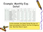 example monthly exp detail