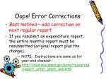 oops error corrections