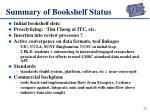 summary of bookshelf status