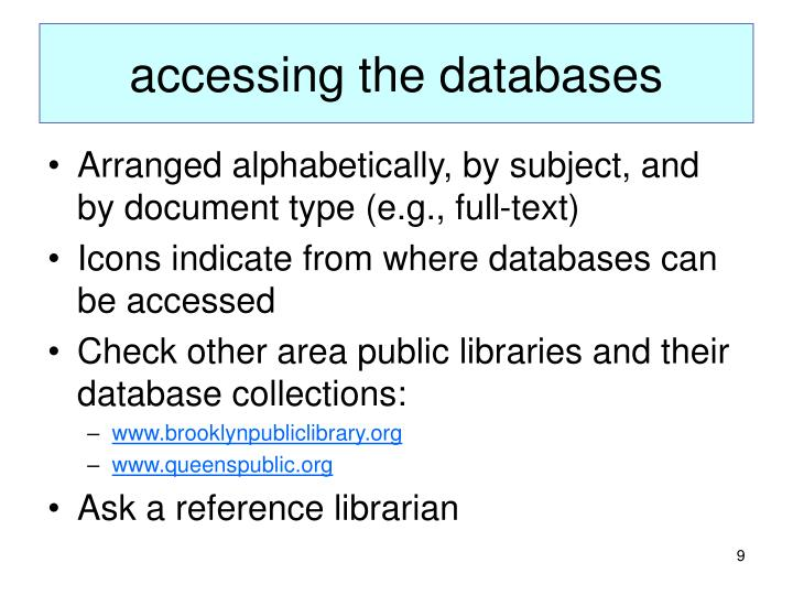 accessing the databases