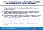 l importance des arrangements institutionnels et des organisations pour un systeme performant