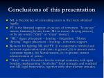 conclusions of this presentation