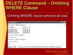 delete command omitting where clause