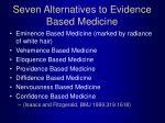 seven alternatives to evidence based medicine