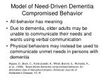model of need driven dementia compromised behavior