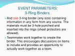 event parameters 3 ring binders