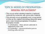 topic b modes of preservation mineral replacement