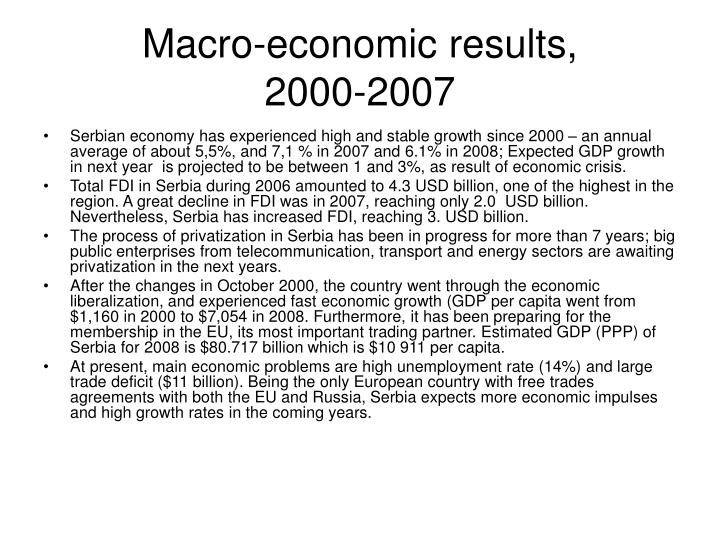 Macro-economic results,