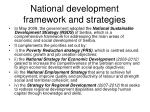 national development framework and strategies