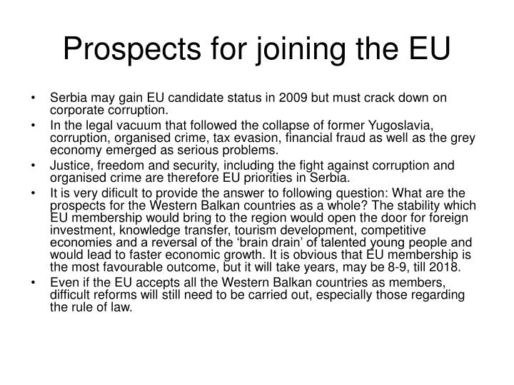 Prospects for joining the EU