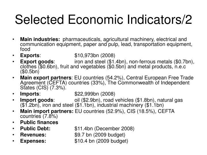 Selected economic indicators 2