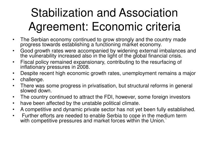 Stabilization and Association Agreement: Economic criteria