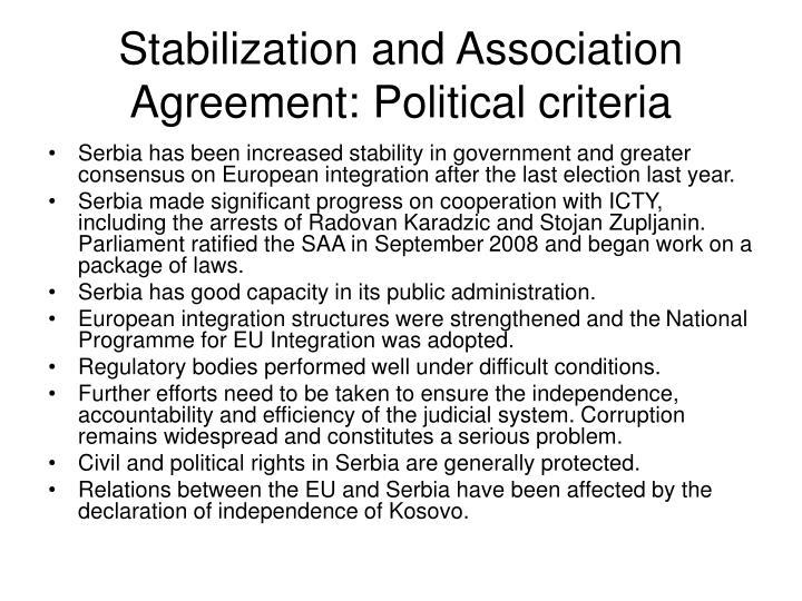 Stabilization and Association Agreement: Political criteria
