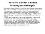 the current situation in serbian economy social dialogue