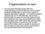 fragmentation of care