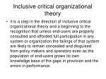 inclusive critical organizational theory