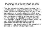 placing health beyond reach