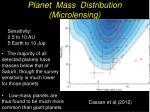 planet mass distribution microlensing