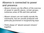 absence is connected to power and presence