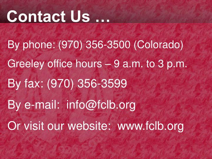 Contact Us …
