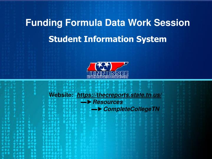 funding formula data work session n.