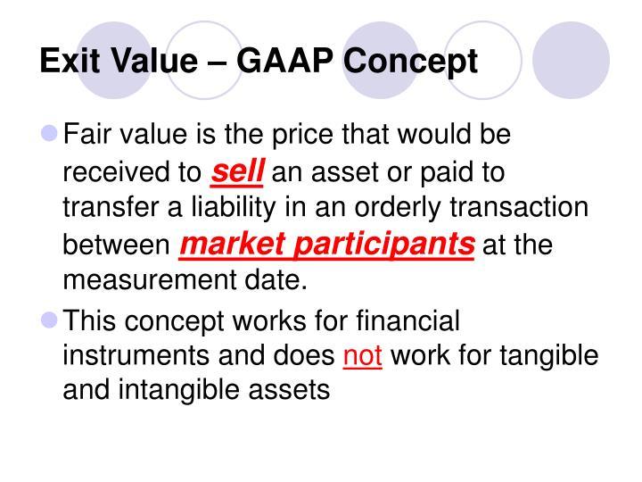 Exit Value – GAAP Concept