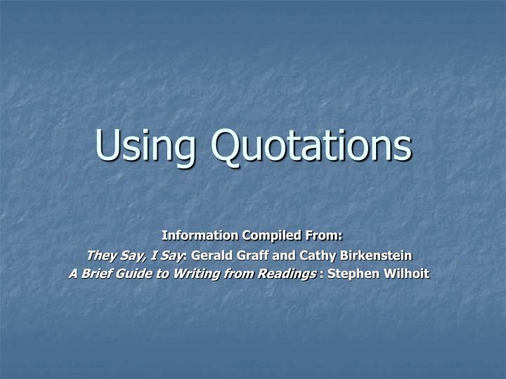 using quotations n.