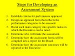 steps for developing an assessment system