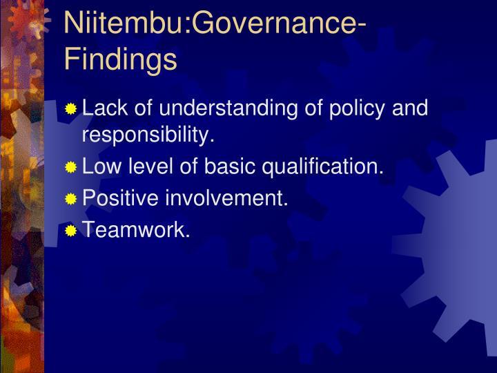 Niitembu:Governance- Findings